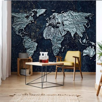 Modern 3D World Map Wallpaper Mural