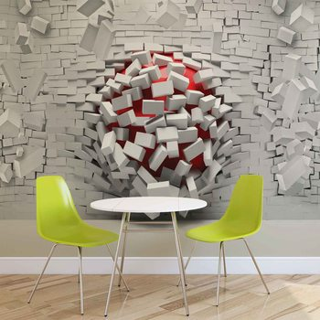 Modern Abstract Brick Wall Wallpaper Mural