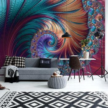 Modern Abstract Spiral Design Wallpaper Mural