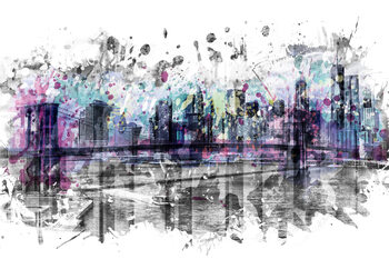 Wallpaper Mural Modern Art NEW YORK CITY Skyline Splashes