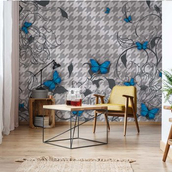 Modern Blue Butterflies Design Wallpaper Mural
