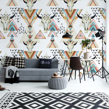 Modern Boho Chic Pattern Wallpaper Mural