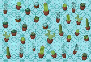 Modern Cactus Pattern Light Blue Wallpaper Mural