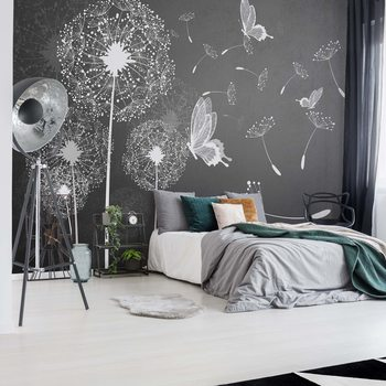 Modern Dandelions And Butterflies Grey And White Wallpaper Mural