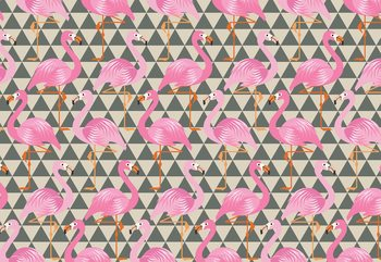Modern Flamingo Pattern Wallpaper Mural