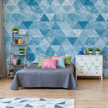 Modern Geometric Triangle Design Blue Wallpaper Mural