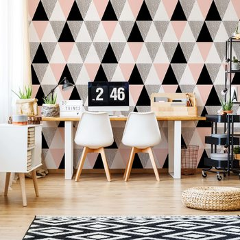 Modern Pink And Black Geometric Triangle Pattern Wallpaper Mural