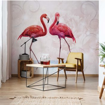 Modern Tropical Flamingos Wallpaper Mural