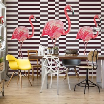 Modern Tropical Flamingos Wallpaper Mural