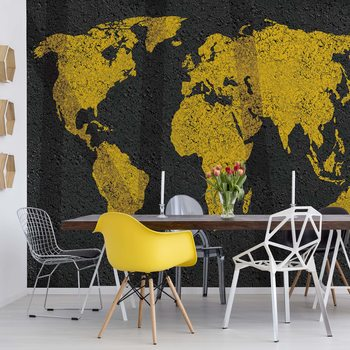 Modern World Map Grunge Texture Wallpaper Mural
