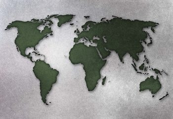 Modern World Map Silver Wallpaper Mural