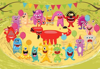 Monsters Party Wallpaper Mural