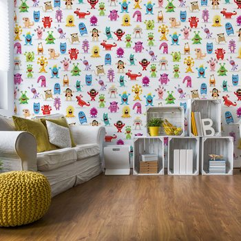 Monsters Pattern Wallpaper Mural