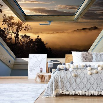 Mountain Skylight Window View Wallpaper Mural