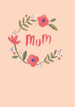 Mum floral wreath Wallpaper Mural