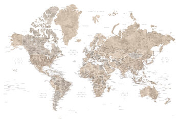 Neutral watercolor detailed world map with cities, Abey Wallpaper Mural