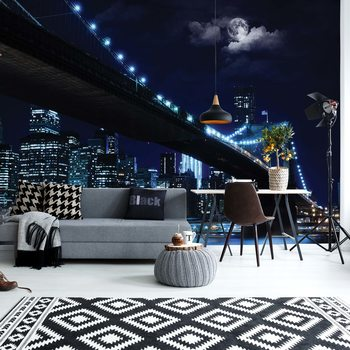New York Brooklyn Bridge At Night Wallpaper Mural