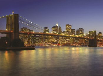 New York - Brooklyn Bridge at the dusk Wallpaper Mural