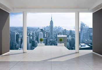 New York City Skyline 3D Penthouse View Wallpaper Mural