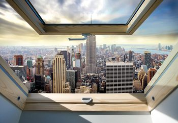 New York City Skyline 3D Skylight Window View Wallpaper Mural