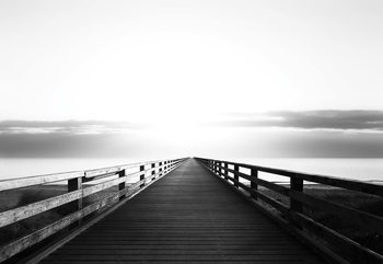 Ocean Pier Black And White Wallpaper Mural