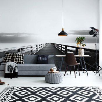Ocean Pier Black And White Wallpaper Mural