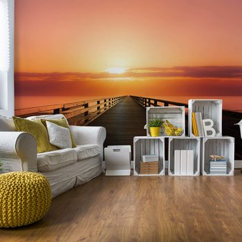 Ocean Pier Sunset Wallpaper Mural