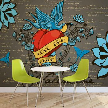 Old School Valentine Tattoo Wallpaper Mural