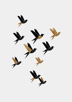 Wallpaper Mural Origami Birds Collage II