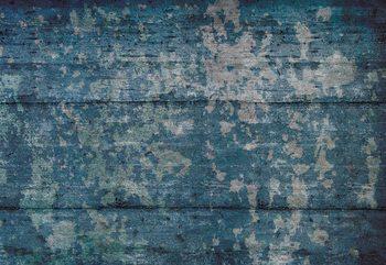 Painted Wood Texture Blue Wallpaper Mural