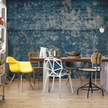 Painted Wood Texture Blue Wallpaper Mural