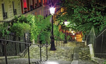 Paris City Street Night Wallpaper Mural