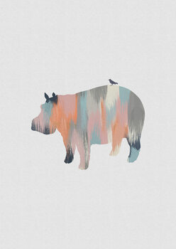 Wallpaper Mural Pastel Hippo