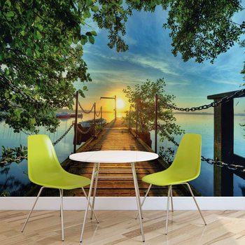 Path Pier Trees Boats Sunset Wallpaper Mural