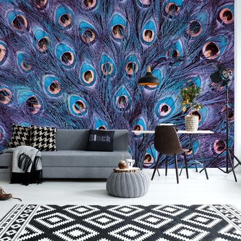 Peacock Feathers Blue And Purple Wallpaper Mural