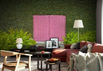 Pink Brick Door Wallpaper Mural