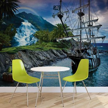 Pirate Sailing Ship Wallpaper Mural