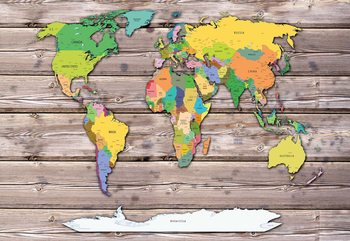 Political World Map On Wood Background Wallpaper Mural