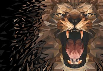 Polygon Lion Dark Colours Wallpaper Mural