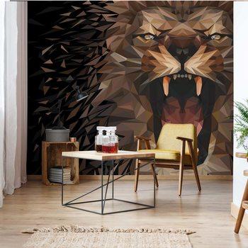 Polygon Lion Dark Colours Wallpaper Mural
