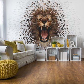 Polygon Lion Ligh Colours Wallpaper Mural
