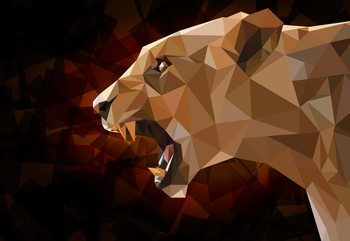 Polygon Lioness Dark Colours Wallpaper Mural
