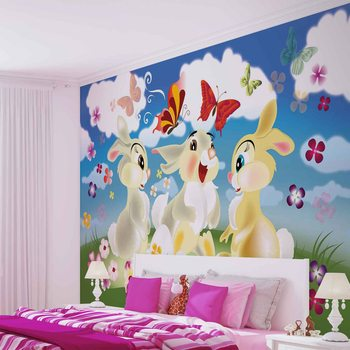 Rabbit Bunny Butterflies Flowers Wallpaper Mural