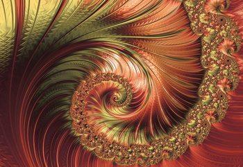 Red Modern Abstract Spiral Design Wallpaper Mural