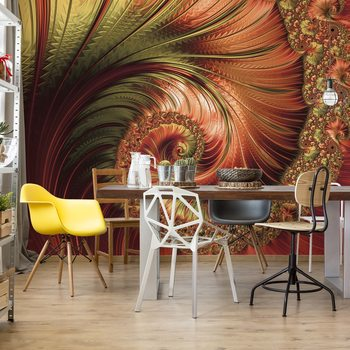 Red Modern Abstract Spiral Design Wallpaper Mural