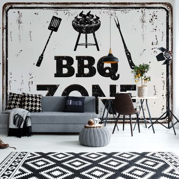 Retro Sign Bbq Zone Wallpaper Mural