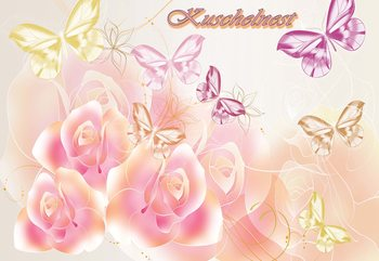 Roses Butterflies Wallpaper Mural