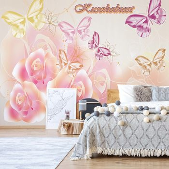 Roses Butterflies Wallpaper Mural