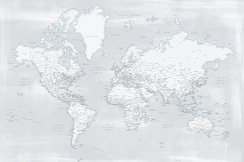 Wallpaper Mural Rustic distressed detailed world map in cold neutrals