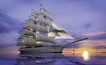 Sailing Ship Sunset Wallpaper Mural